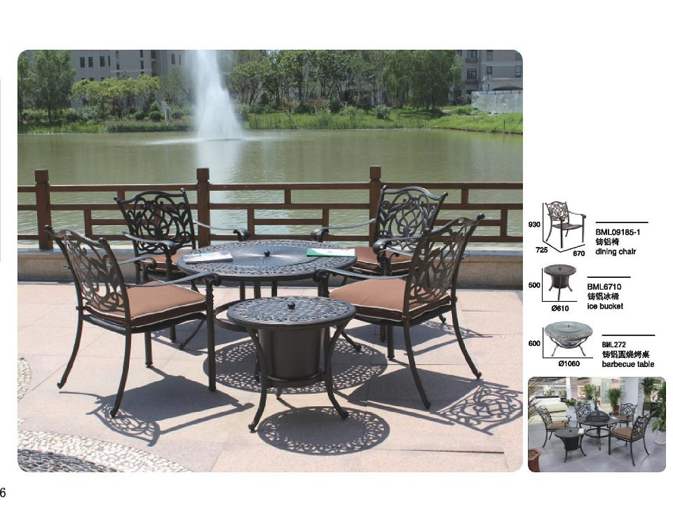 Cimarron dining (1+4) - Chair 09185-1 , Barbecue table 272, Ice Bucket 6710